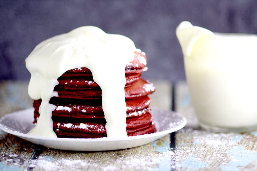 Red Velvet Pancakes With Cream Cheese Glaze Make A Delicious And Decadent Valentineu0027s  Day Breakfast Recipe