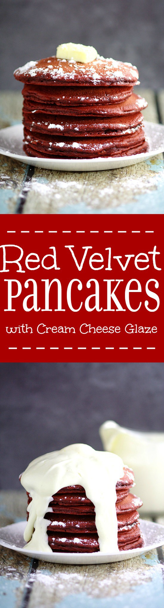 Red Velvet Pancakes with Cream Cheese Glaze make a delicious and decadent Valentine's Day breakfast recipe. Red Velvet Pancakes made from a box cake mix topped with a creamy, simple cream cheese glaze. Couldn't be a more delicious way to start the day!