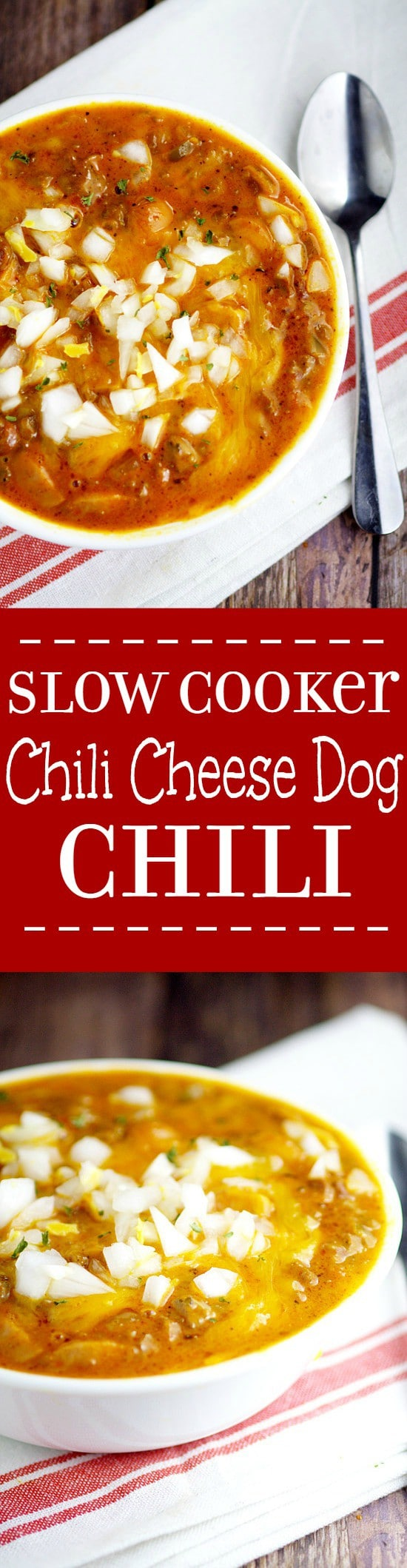 Slow Cooker Chili Cheese Dog Chili Recipe. Traditional beef chili recipe with the classic, gooey cheesy flavors of chili cheese dogs meld together with perfection right in the Crockpot in this Slow Cooker Chili Cheese Dog Chili recipe. This would be so fabulous for a chilly day!  And look at all that delicious gooey cheese!