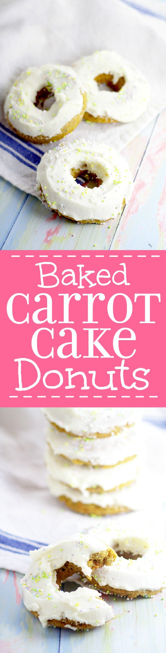 Baked Carrot Cake Donuts.Have all the flavors of your favorite dessert with these Baked Carrot Cake Donuts with cream cheese frosting for an easy and yummy Spring and Easter breakfast idea.