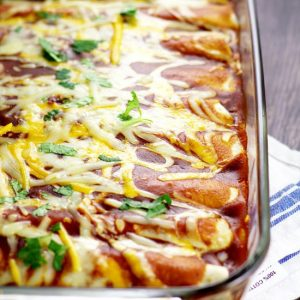 Black Bean Enchiladas.Simple and classic flavors are used for these Black Bean Enchiladas, that make a delicious, easy, and meatless family dinner. Love the simple ingredients in this recipe!