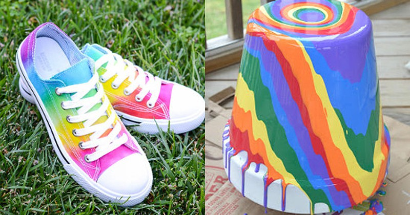 Pretty and fun DIY Rainbow Crafts. The BEST DIY Rainbow Crafts from indoor and outdoor decorations to fashion, headbands, and totes.  These rainbow crafts will brighten up your life, and you'll love them all! Love these!