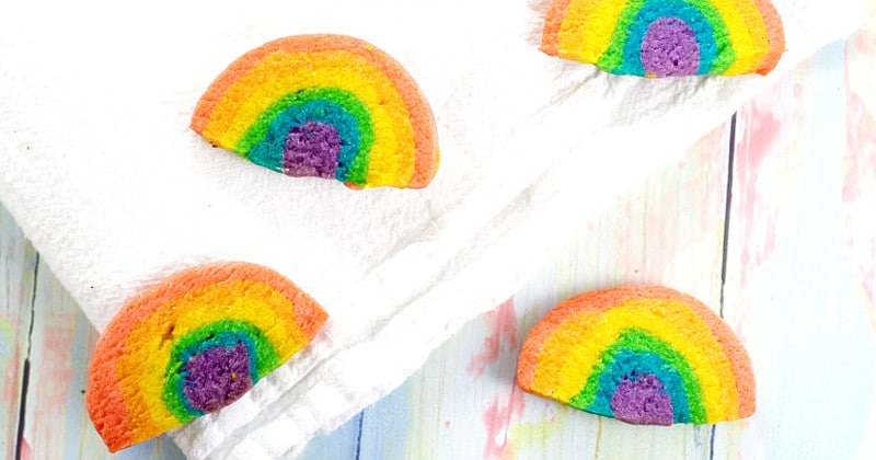 Rainbow Sugar Cookies. Adorable slice-and-bake Rainbow Sugar Cookies that the kids will love.  Fun to make AND eat, and perfect for parties and St Patrick's Day.  Too cute!
