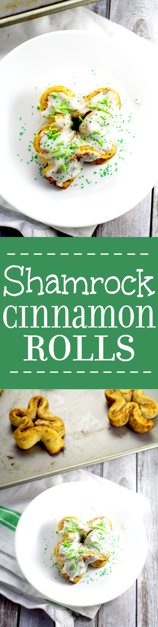 Shamrock Cinnamon Rolls with pretty green sprinkles. Adorable, but totally easy Shamrock Cinnamon Rolls make a festive St Patrick's Day breakfast idea that the kids will love! So cute!