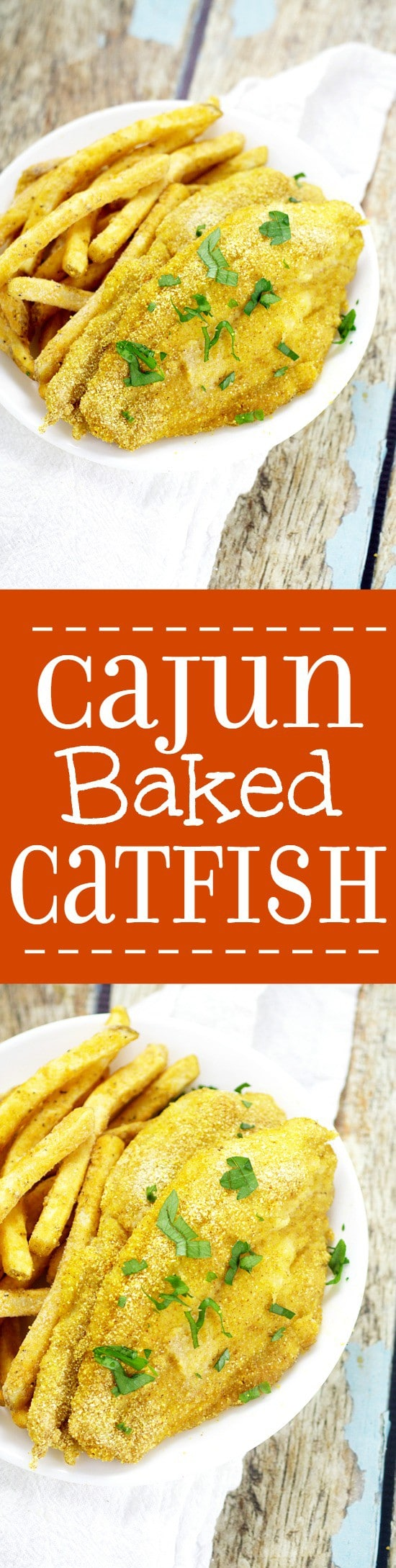 Crispy, spicy Cajun Baked Catfish can be made in just 30 minutes top to bottom for an easy family dinner recipe, and baked to golden, crispy perfection right in your oven. Wow! Yum!