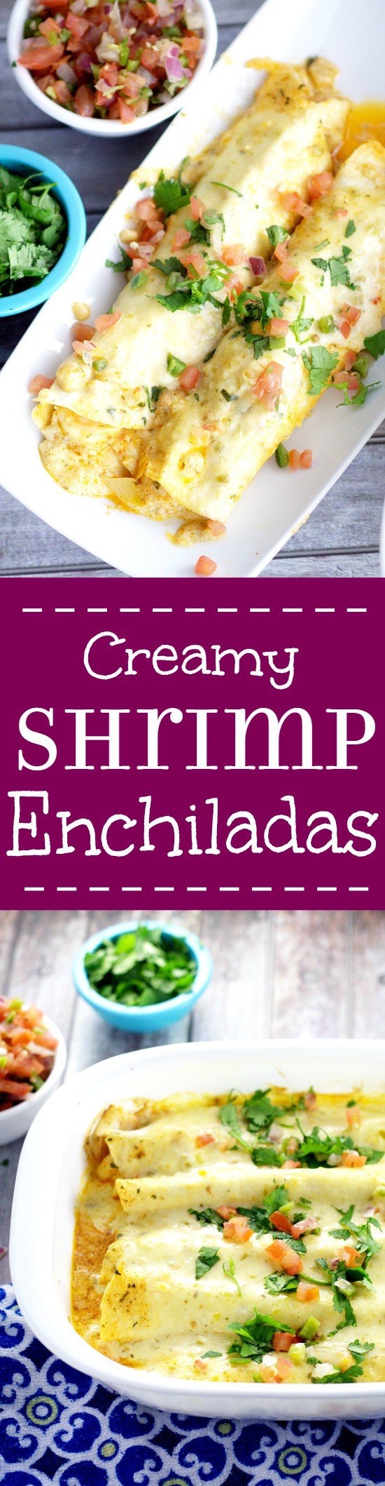 Creamy Shrimp Enchiladas - Creamy and rich with added pops of flavor from onions and peppers, these Creamy Shrimp Enchiladas are easy enough for family dinner and elegant enough for a date night in. These look fabulous!