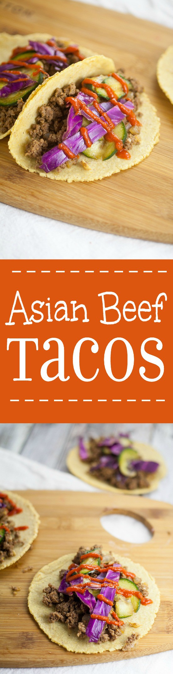 Asian Beef Tacos recipe with cucumber slaw -An Asian kick on your old family dinner favorite, these Asian Beef Tacos topped with cool sour cream, crisp cucumber slaw, and spicy Sriracha make taco night even more spectacular. Wow, the slaw on these tacos really makes it amazing!