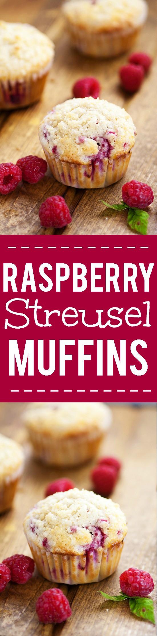 Raspberry Streusel Muffins Recipe -Sweet but tart, these fresh Raspberry Streusel Muffins topped with a heavenly, crunchy streusel will make breakfast a decadent treat. Easy breakfast recipe that's also freezer friendly. Fabulous!