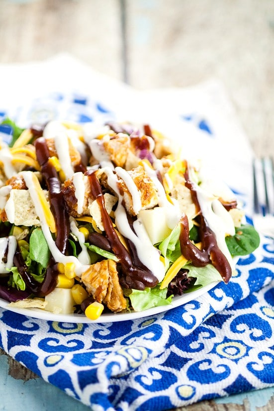 Barbecue Ranch Chicken Salad Recipe -Quick and easy Barbecue Ranch Chicken Salad with crisp green lettuce, corn, black beans, and grilled barbecue chicken makes a perfect, fresh salad for lunch or dinner. Perfect for using up leftovers!