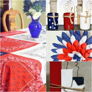 DIY Patriotic Decorations ideas that are frugal and easy!Make your home bright and festive this Summer with these Americana red, white, and blue DIY Patriotic Decorations ideas! Perfect home decor for Summer or all year long! Oh, I love these! So festive and cute for Summer. Plus cheaper to make it yourself!