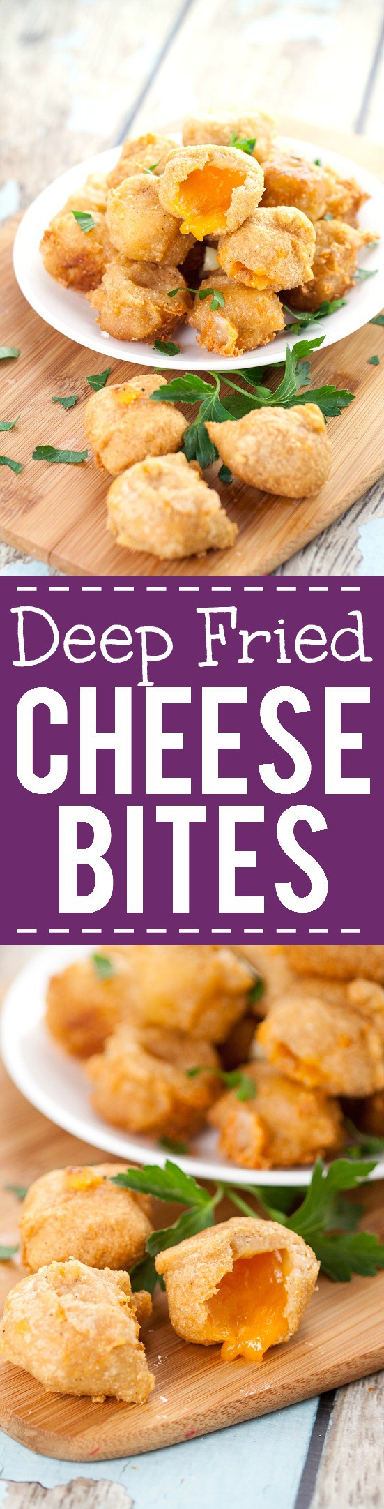 Deep Fried Cheese Bites recipe -Crispy, cheesy Deep Fried Cheese Bites in a flavorful beer batter make a perfect snack, appetizer, or even a side to your favorite burger. A cheese lover's dream! Love this for an easy appetizer recipe.