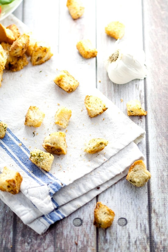 Homemade Garlic Croutons recipe -Skip the store bought croutons and make this crunchy, buttery, and zesty Homemade Garlic Croutons recipe for the perfect delicious topping on your favorite salad! These look so good.
