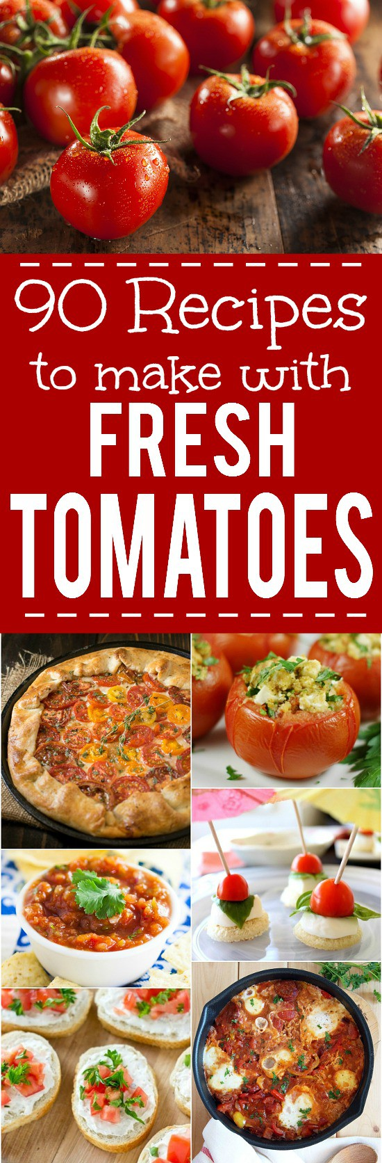 88 Recipes with Fresh Tomatoes - Use up your fresh, juicy tomato harvest this Summer with these 88 of the absolute BEST Recipes with Fresh Tomatoes that are sure to have you celebrating your garden, from cherry or grape tomatoes, to beefsteak or heirloom tomatoes!