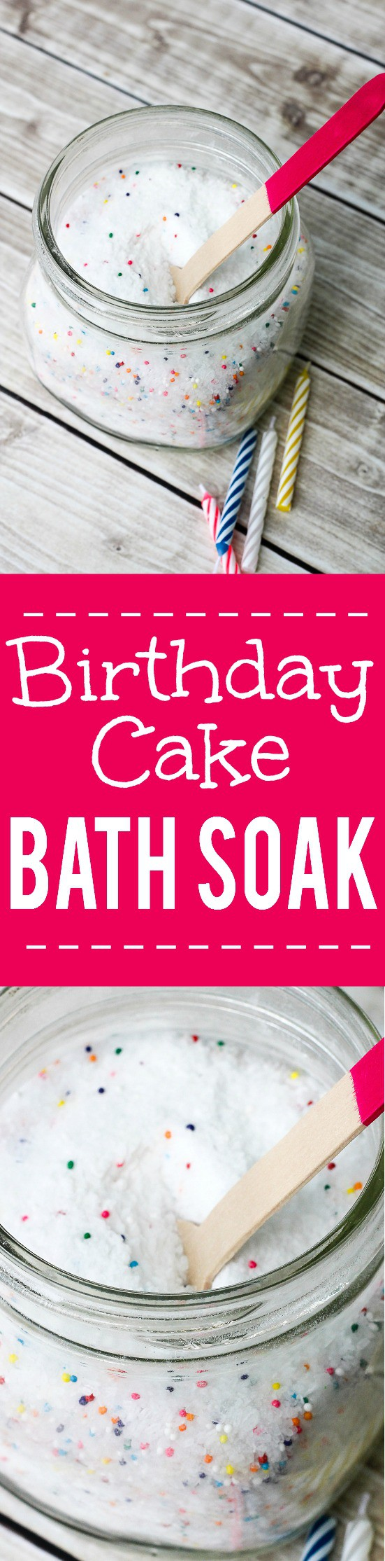 DIY Birthday Cake Bath Salts Tutorial -Relax and celebrate your birthday everyday with these DIY homemade Birthday Cake Bath Salts. This bath soak is also a yummy DIY gift idea. Check out the tutorial! Ooooh! Love this! I think it would make a great gift idea for tweens too!