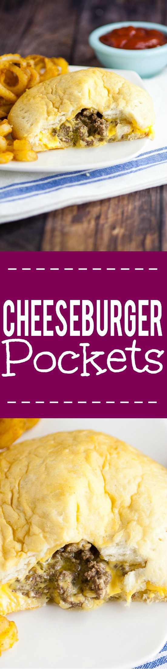 Cheesburger Pockets Recipe - Made in just 30 minutes with 5 ingredients, this cheesy Cheeseburger Pockets recipe is the ultimate yummy, quick and easy family dinner recipe. It's even great for on-the-go! Love this! Kind of like a homemade hot pocket