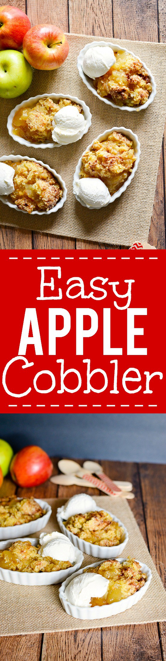 Easy Apple Cobbler Recipe - Make this 5 ingredient quick and easy apple cobbler recipe in just 30 minutes for a delightful, sweet Fall apple treat that will quickly become a family favorite. 5 ingredient, 30 minute, quick and easy dessert recipe. Can't beat that!