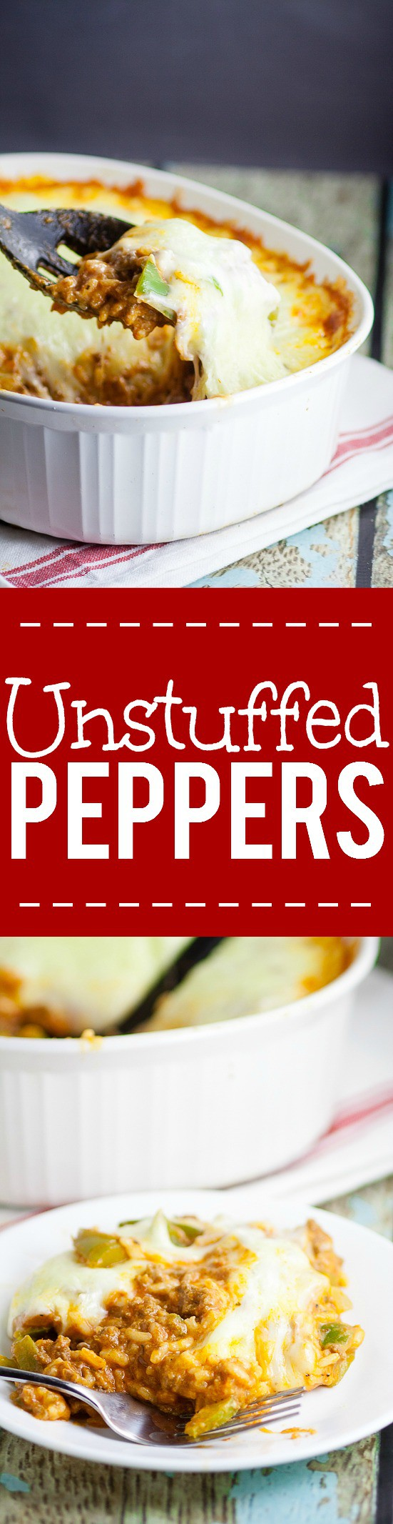 Unstuffed peppers recipe - Quick and easy, 30 minute, one pot dinner recipe. That's right.  This simple family dinner recipe has it all! Get all the delicious comforting flavor you love in classic stuffed peppers in just 30 minutes with this equally yummy but twice as easy Unstuffed Peppers recipe.