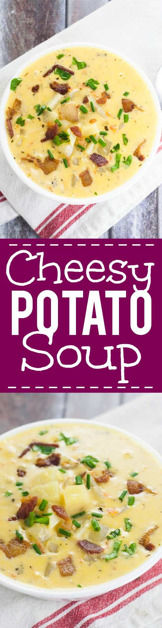 Cheesy Potato Soup Recipe -Warm and creamy Cheesy Potato Soup recipe is a deliciously perfect classic comfort food recipe to keep you warm and happy all winter long. Yummmm! One of my all time favorite delicious soup recipes. Ever.