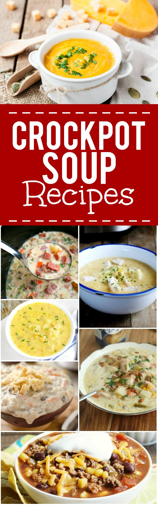 44 Crock Pot Soup Recipes - Find 44 of the BEST Crock Pot Soup recipes to cook and snuggle up with this cold season.  From creamy, cheesy chowders to chunky, hearty stews, there's something for everyone!