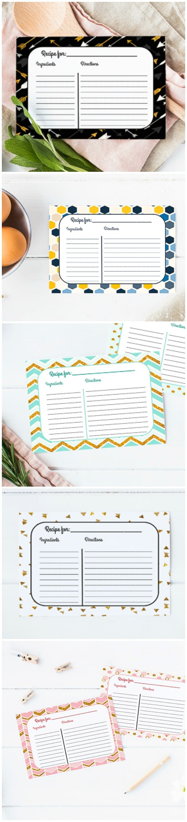 Free Printable Recipe Cards - Keep all of your favorite recipes safe and organized with these Free Printable Recipe Cards, in 5 different colors and designs.