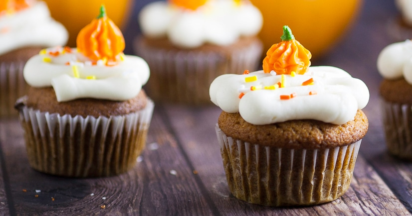 Pumpkin Spice Cupcakes Recipe -These scrumptious and festive Pumpkin Spice Cupcakes topped with cream cheese frosting are an incredibly delicious and flavorful easy dessert recipe for Fall. Perfect for all pumpkin lovers! This is one of my favorite pumpkin recipes. Make them every fall.