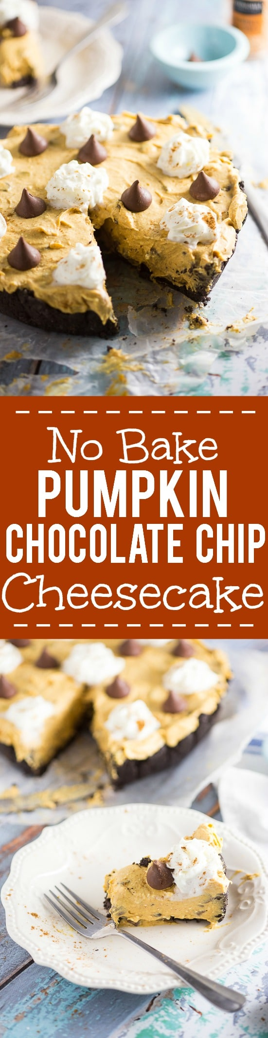 No Bake Pumpkin Chocolate Cheesecake Recipe -Festive, delicious, and easy No Bake Pumpkin Chocolate Cheesecake with a no bake pumpkin spice filling and chocolate chips in a chocolate Oreo crust. Perfect for both pumpkin spice lovers and chocolate lovers! No bake pumpkin spice cheesecake, chocolate chips, and a chocolate oreo crust?! Sounds amazing. Would be an easy Thanksgiving dessert recipe too!