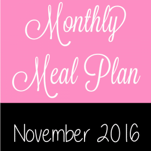 November 2016 Monthly Meal Plan -EasyNovember 2016 Monthly Meal Plan for weekly and daily breakfast, snack, and dinner. All you need to do is print, add your sides and shop!