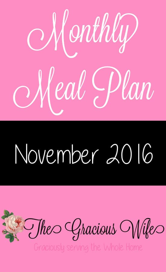 Monthly Meal Plans  The Gracious Wife