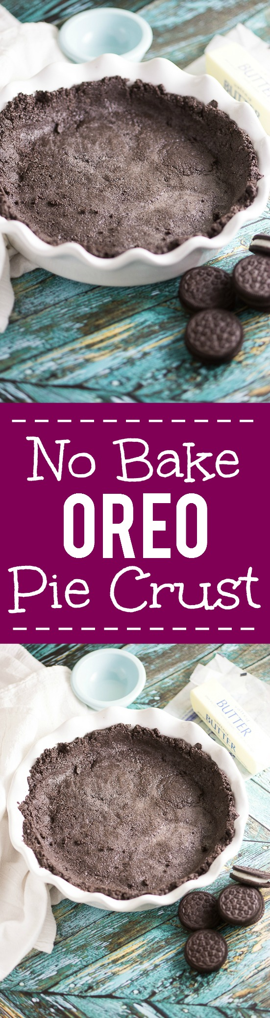No Bake Oreo Cookie Pie Crust -This chocolate, easy Oreo crust recipe is simple and delicious, with just 2 ingredients. Perfect way to make your favorite no bake pie or cheesecake even more fabulous! Such an easy pie crust recipe and so yummy!