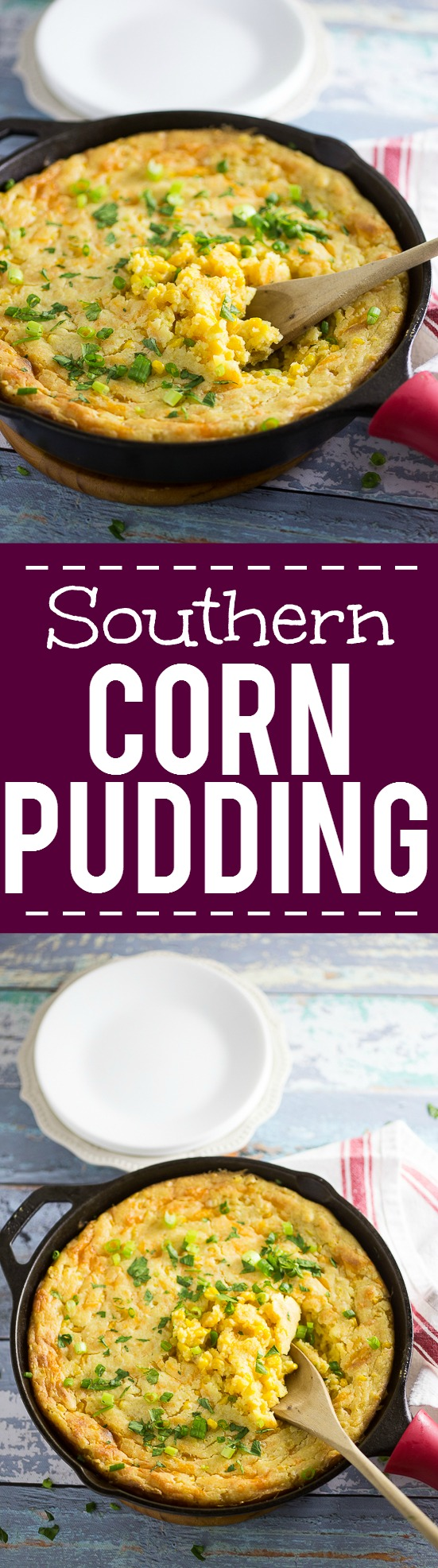 Oven Baked Southern Corn Pudding Recipe - Use this classic Southern Corn Pudding recipe to whip some delicious, cozy comfort food that's the perfect side dish with your favorite meat and potatoes. Also great for potlucks and holidays! This is such an easy and delicious corn side dish recipe! You can't go wrong with spoon bread!