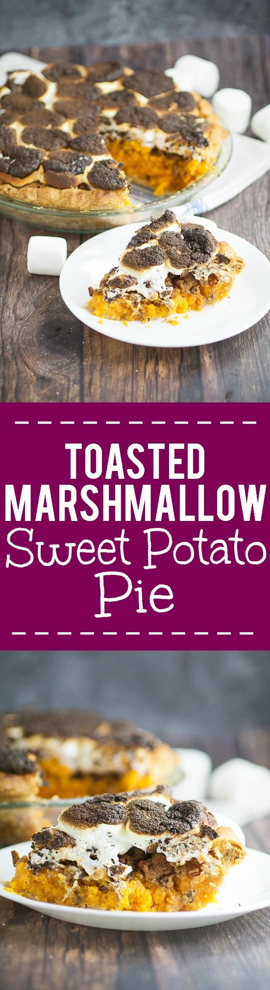 Toasted Marshmallow Sweet Potato Pie Recipe -Toasted Marshmallow Sweet Potato Pie recipe with golden toasted marshmallows and sweet potatoes in a flaky crust. A classic sweet potato pie recipe with a gooey, sweet, marshmallow twist! This looks so yummy for Thanksgiving! Perfect easy Thanksgiving dessert recipe!