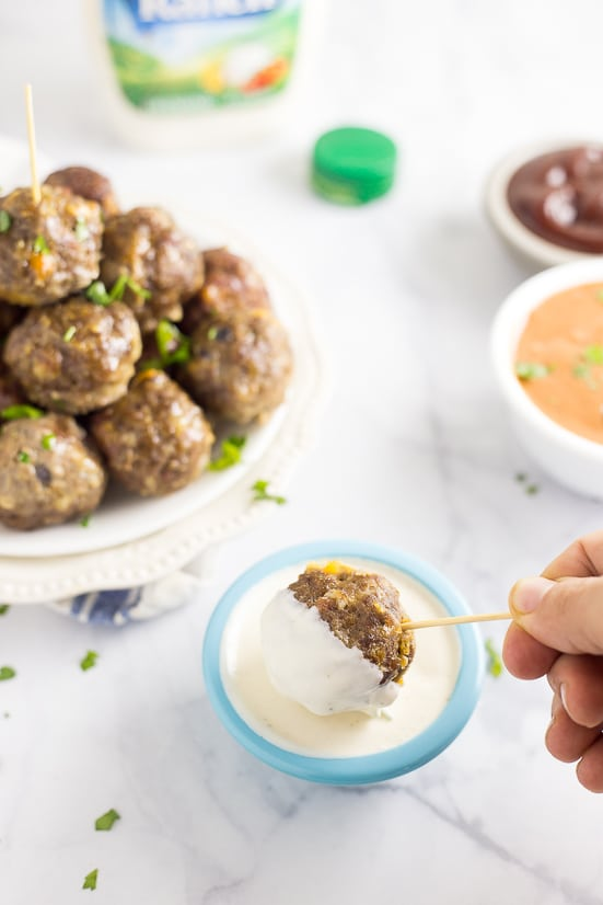 Baked Cheddar Bacon Ranch Meatballs Recipe - These tangy, zesty Baked Cheddar Bacon Ranch Meatballs have a to-die-for flavor combo and are baked in the oven for a delicious, quick and easy appetizer recipe.