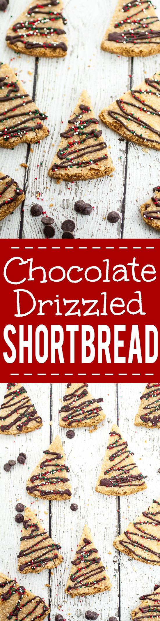 Chocolate Drizzled Shortbread Recipe - A classic buttery shortbread recipe cut into triangles and drizzled with chocolate and festive sprinkles makes this fun Chocolate Drizzled Shortbread cookies look like little Christmas trees.