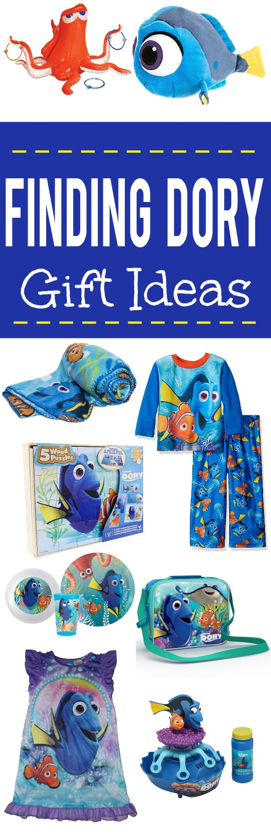 15 Finding Dory Gift Ideas - Finding Dory Gift Guide with15 adorable and fun Finding Dory Gift Ideas that are perfect for the Finding Dory fan in your life. Perfect gift ideas for kids for Christmas and birthdays!