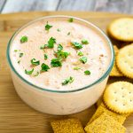 Shrimp Mold Dip Recipe - A vintage but tasty recipe, this Shrimp Mold Dip recipe will be the highlight of the party with a creamy tomato base, salad shrimp, and onion and celery. Classic, simple, and delicious appetizer recipe and easy dip!