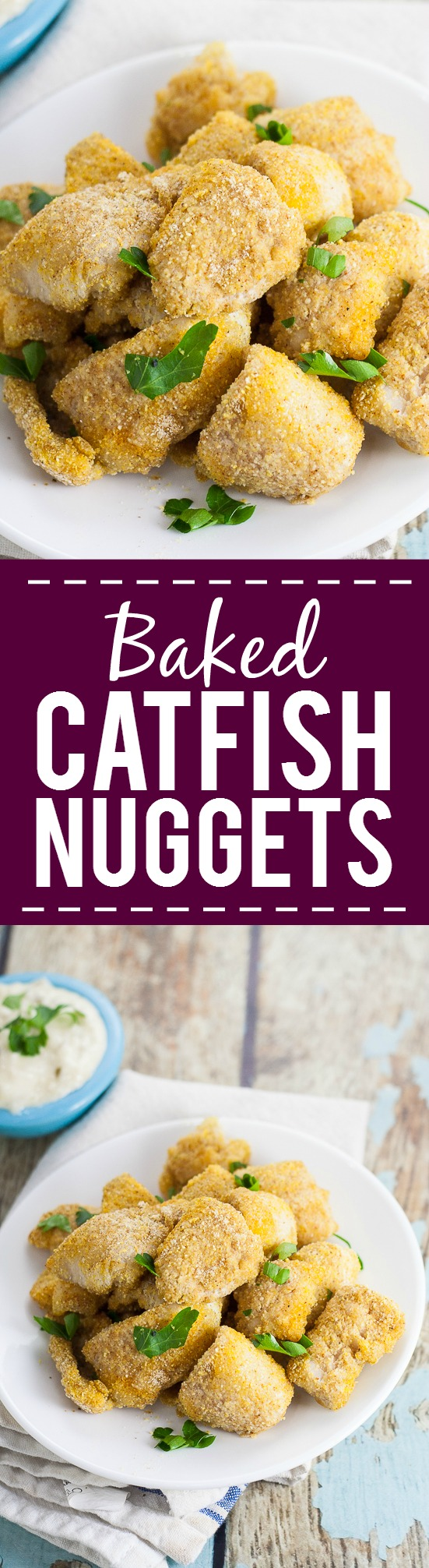Baked Catfish Nuggets Recipe -Make these healthy, quick, and easy Baked Catfish Nuggets in just 30 minutes with 5 ingredients. Breaded with cornmeal and Cajun seasoning for a kick. Serve with your favorite sauce! So good! And such a quick and easy seafood recipe.