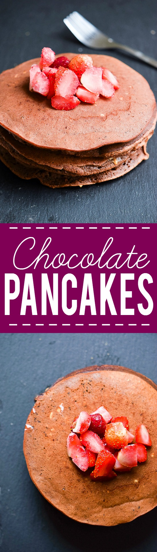 Chocolate Pancakes Recipe - A decadent way to start the day, these Chocolate Pancakes will add a sweet note to your morning.  Top them with berries, whipped cream, or powdered sugar! Amazing for a delicious, decadent, quick and easy breakfast recipe!