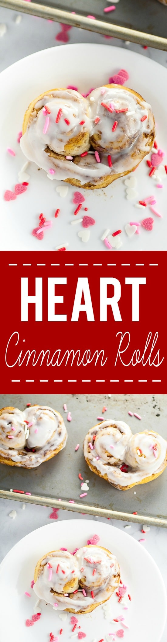 Heart Cinnamon Rolls recipe and tutorial for Valentine's Day - Quick and easy and totally adorable Heart Cinnamon Rolls make a festive Valentine's Day breakfast that the kids will love!