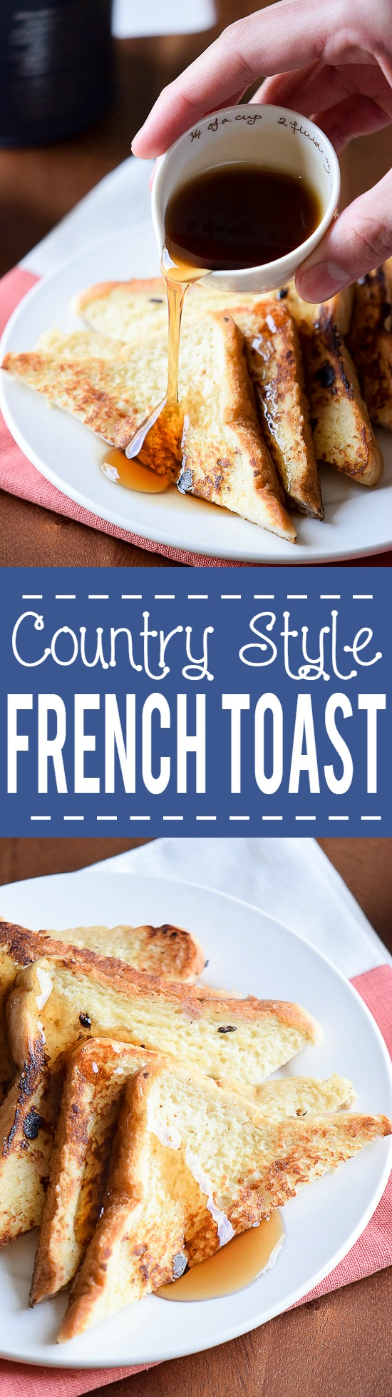 Country French Toast recipe - Classic Country French Toast recipe with simple ingredients is quick and easy to whip up and makes a perfect, yummy breakfast. Top with butter, maple syrup, whipped cream, or berries. Love french toast for an easy breakfast recipe that kids will love!