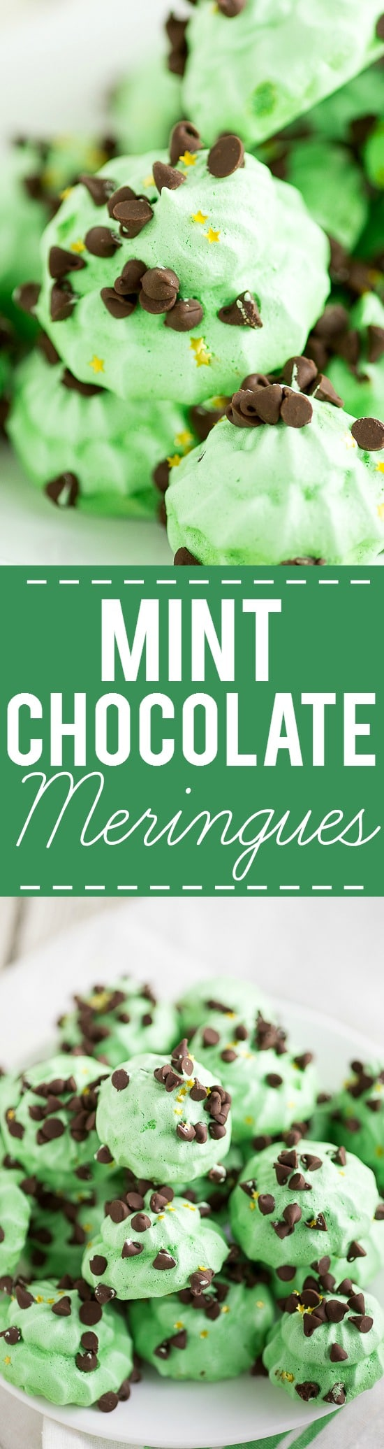 Mint Chocolate Meringues Recipe -Light and fluffy with the perfect amount of crispy, these cool and minty Mint Chocolate Meringues are perfect for mint chocolate lovers. Festive for Christmas or St Patrick's Day too!