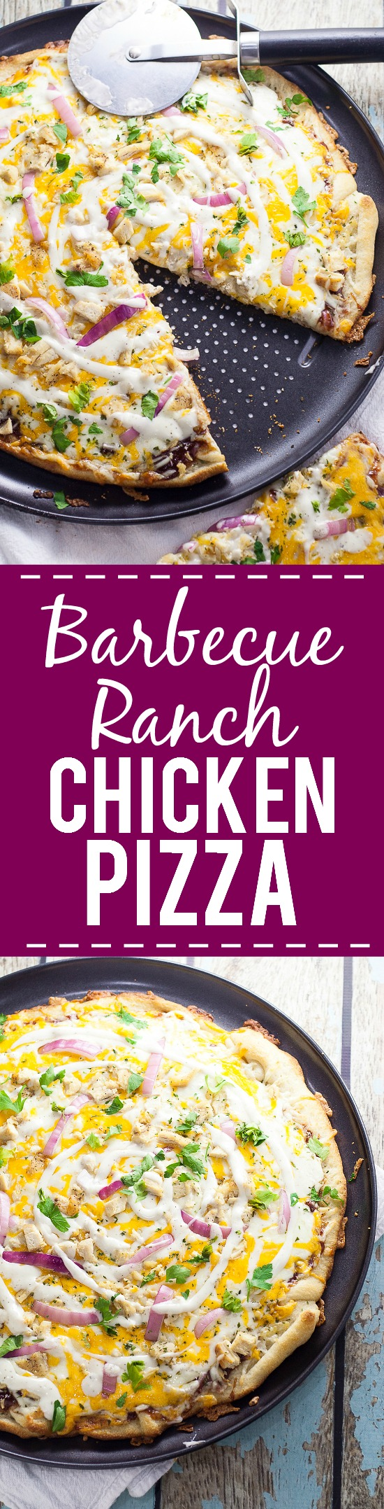 Barbecue Ranch Chicken Pizza Recipe -Barbecue and ranch are an unexpected but delicious combination that go perfectly on this Barbecue Ranch Chicken Pizza, along with chicken, red onions and lots of gooey cheese. Perfect easy family dinner recipe!