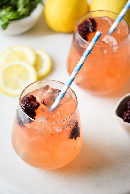 Blackberry Lemon Spritzer Recipe -Fresh, a little sweet, and a lot of delicious, this tangy Blackberry Lemon Spritzer is perfect for all occasions and can be made into a mocktail or a cocktail.