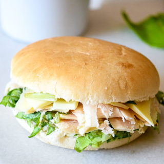 Caesar Salad Sandwiches recipe - Fresh, creamy, and flavorful, these Caesar Salad Sandwiches are a delightful and healthy option for lunch with fresh greens, Parmesan, and chicken. Great for an easy and healthy lunch or an easy dinner recipe without the oven for Summer!