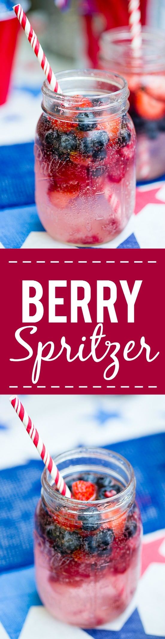 Patriotic Berry Spritzer -Fresh and full of sweet berries, this Berry Spritzer is a pretty and refreshing beverage that's patriotic too! Perfect for any occasion and using up ripe Summer berries! Yum! Omg. So good for fresh sweet summer berries. Blueberries, strawberries, raspberries....