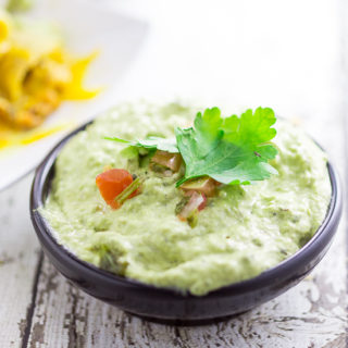 Creamy Roasted Poblano Dip Recipe - Earthy roasted poblano pepper mixed with zesty garlic and onion combined together in this smooth Creamy Roasted Poblano Dip will be your new favorite go-to dip! So easy with just 5 ingredients and you can just throw all of the ingredients in the food processor!