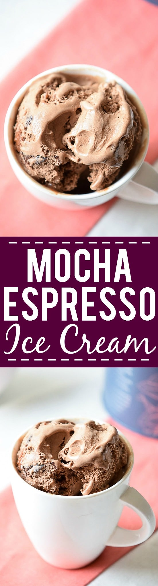 Mocha Espresso Ice Cream Recipe - You won't believe how easy it is to make your own homemade, no churn, rich and creamy Mocha Espresso Ice Cream with simple ingredients! Perfect for coffee and ice cream lovers! Love this easy no churn ice cream recipe!