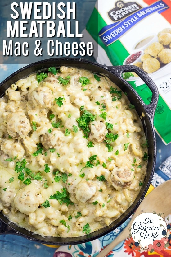 Swedish Meatball Mac and Cheese Recipe - Make this Swedish Meatball Mac and Cheese recipe, with flavorful Swedish meatballs, authentic gravy, and lots of gooey cheese, in 30 minutes for a quick and easy family dinner recipe! Takes macaroni and cheese and Swedish meatballs to a whole new amazing comfort food level.