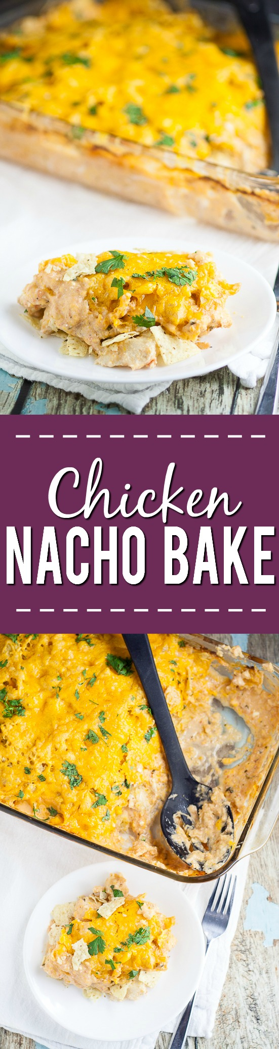 Chicken Nacho Bake Recipe - Creamy, crunchy, and cheesy, this Chicken Nacho Bake recipe is a crowd-pleasing easy casserole recipe with just 5 ingredients.  Cheesy, quick and easy family dinner recipe with chicken breast.