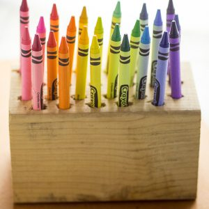 DIY Easy Crayon Organizer tutorial -Make this quick and easy Crayon Organizer for the kids to store their crayons or even colored pencils or markers. It's cheap, easy to make, easy to use, and a pretty way to organize the coloring mess! Perfect easy craft supplies organization for kids!