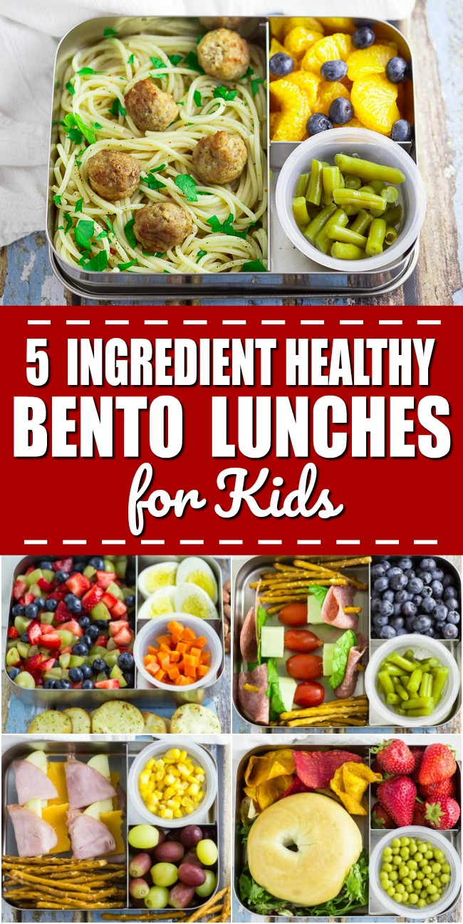5 Ingredient Bento Box Lunches for Kids for a Week - If you're looking for some easy, creative, and healthy school lunch ideas for kids, check out these super simple 5 ingredient bento box lunches for kids for a WHOLE WEEK!